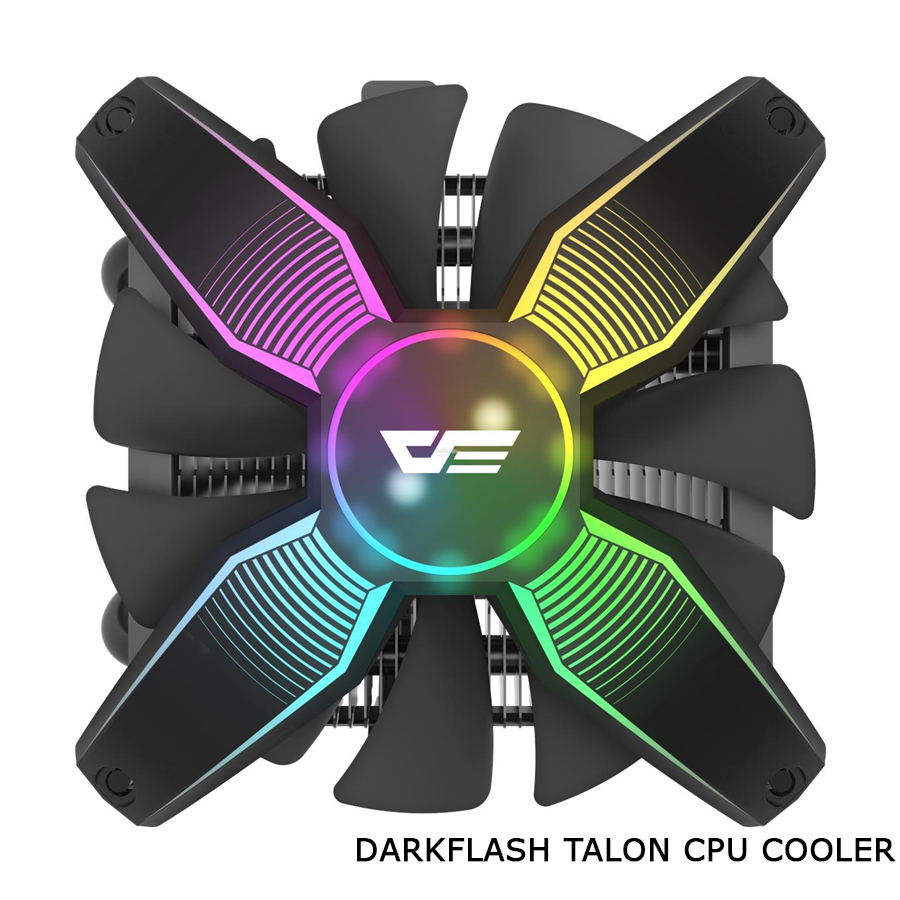 AM4// AM3 LGA 775// 115x// 1366 and AMD darkFlash Talon CPU Cooling Cooler LED RGB PWM Fan with Four Heatpipes for Intel Corei3// i5